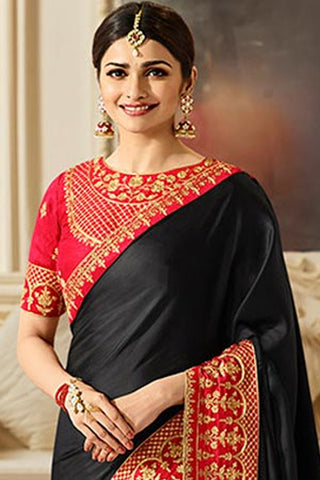 Designer Saree With Embroidered Blouse:atisundar charming Designer Party Wear Saree Featuring Prachi Desai in Black  - 15131