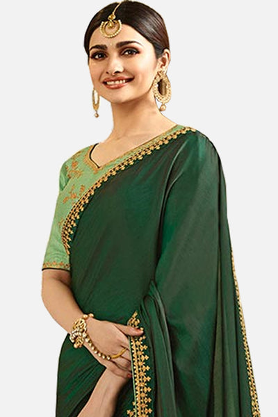 Designer Saree With Embroidered Blouse:atisundar excellent Designer Party Wear Saree Featuring Prachi Desai in Green  - 15132 - click to zoom