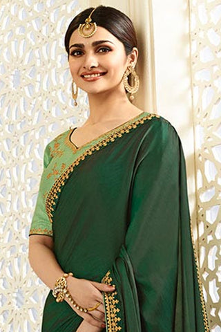 Designer Saree With Embroidered Blouse:atisundar excellent Designer Party Wear Saree Featuring Prachi Desai in Green  - 15132