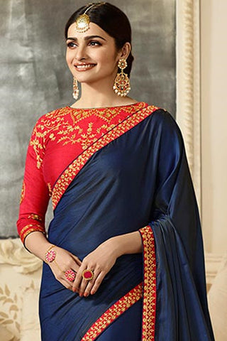Designer Saree With Embroidered Blouse:atisundar cute Designer Party Wear Saree Featuring Prachi Desai in Blue  - 15133