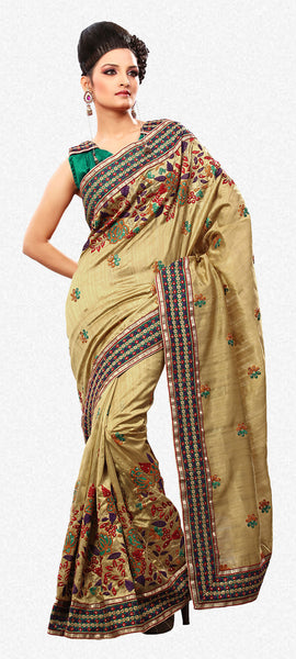 Beauteous Golden Rust Colored Embroidery Saree - atisundar - 1 - click to zoom