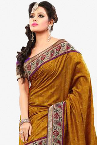 Superb Bhagalpuri Silk Saree In Orange