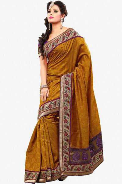 Superb Bhagalpuri Silk Saree In Orange - click to zoom