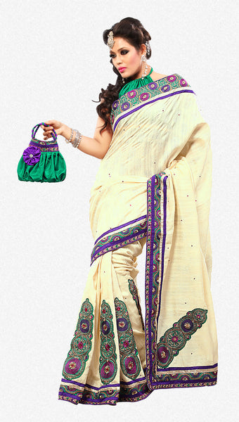 Gorgeous Bhagalpuri Silk Saree In Cream - atisundar - 1 - click to zoom