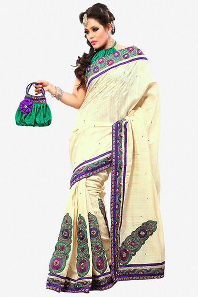 Gorgeous Bhagalpuri Silk Saree In Cream - click to zoom