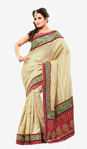 Smart Cream Colored Embroidery Saree - atisundar - 1 - click to zoom