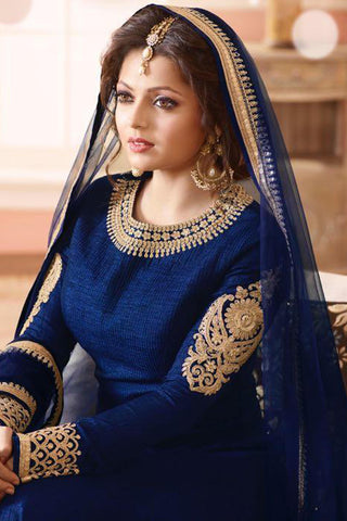 Designer Anarkali:atisundar Lovely Blue Designer Party Wear Anarkali - 12912