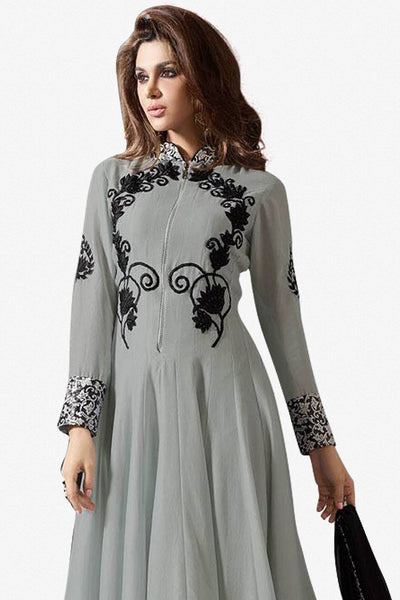 Designer Anarkali:atisundar Awesome Grey Designer Party Wear Anarkali - 12913 - click to zoom
