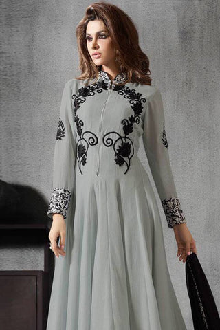 Designer Anarkali:atisundar Awesome Grey Designer Party Wear Anarkali - 12913