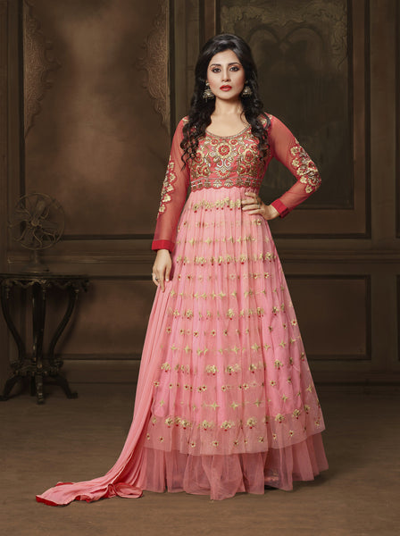 The Rimi Sen Collection:atisundar Attractive Red Designer Embroidered Anarkali - 8912 - click to zoom