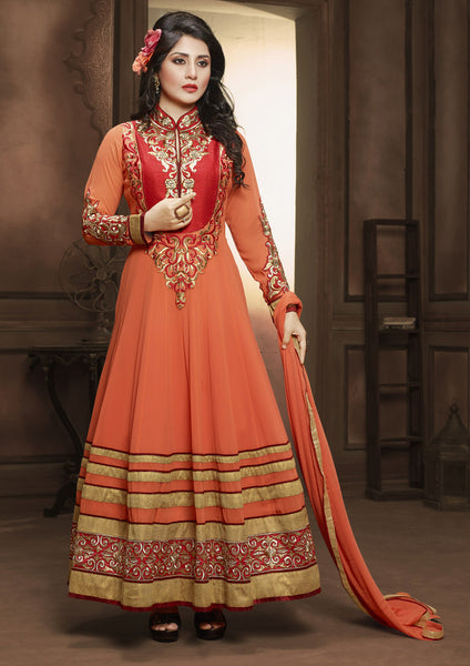 The Rimi Sen Collection:atisundar Charismatic Orange Designer Embroidered Anarkali - 8920 - atisundar - 2 - click to zoom