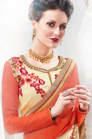 Designer Saree:atisundar divine Designer Party Wear Saree in Orange And Cream  - 12900