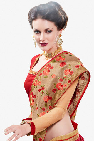 Designer Saree:atisundar elegant Designer Party Wear Saree in Maroon  - 12909