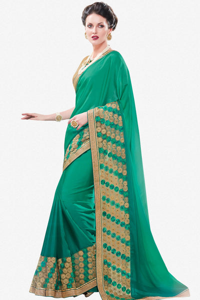 Designer Saree:atisundar delicate Designer Party Wear Saree in Green  - 12910 - click to zoom