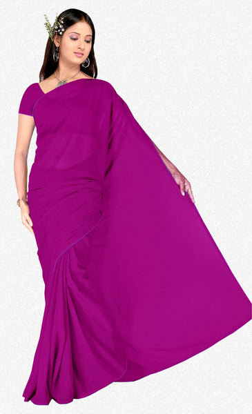 Comely Faux Georgette Saree In Dark Pink - atisundar - 2 - click to zoom