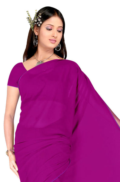 Comely Faux Georgette Saree In Dark Pink - atisundar - 4 - click to zoom