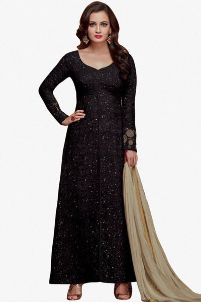Designer Straight Cut:atisundar exquisite Black Designer Party Wear Straight Cut - 13473 - click to zoom