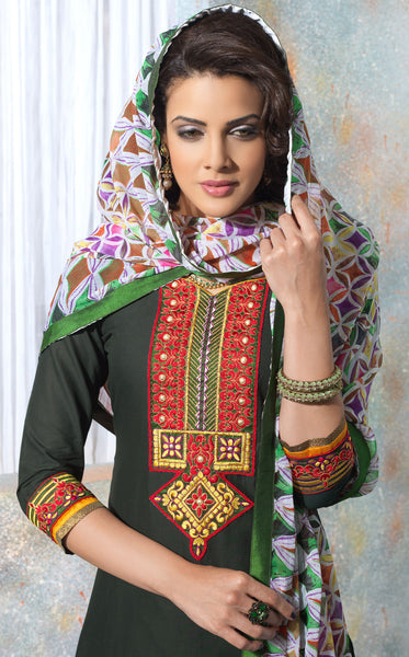Designer Embroidered Patiala in Cotton:atisundar ravishing Dark Green Designer Embroidered Patiala Dress Material In Cotton - 6423 - atisundar - 4 - click to zoom