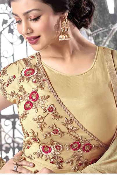 Designer Anarkali:atisundar Great Yellow Designer Party Wear Embroidered Anarkali Featuring Ayesha Takia - 12738 - click to zoom