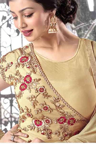 Designer Anarkali:atisundar Great Yellow Designer Party Wear Embroidered Anarkali Featuring Ayesha Takia - 12738