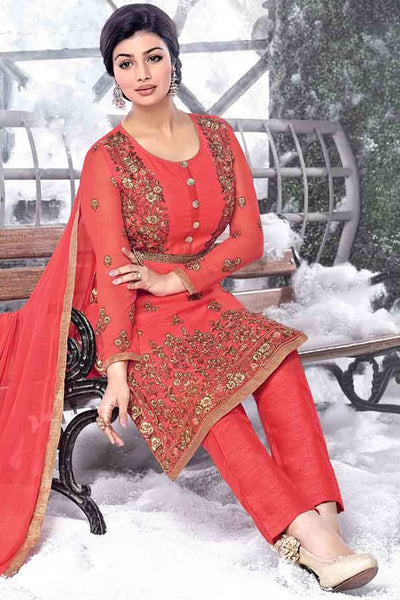 Designer Straight Cut:atisundar divine Pink Designer Embroidered Straight Cut Featuring Ayesha Takia - 12733 - click to zoom