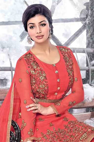 Designer Straight Cut:atisundar divine Pink Designer Embroidered Straight Cut Featuring Ayesha Takia - 12733