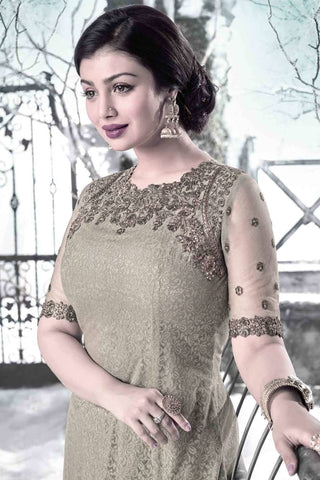 Designer Straight Cut:atisundar exquisite Grey Designer Embroidered Straight Cut Featuring Ayesha Takia - 12735