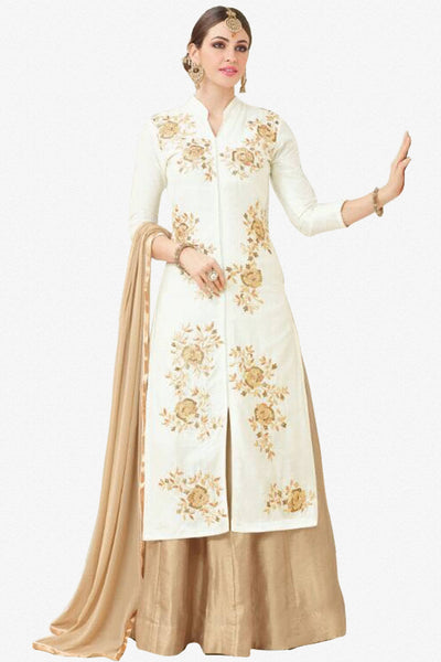 Designer Lehenga:atisundar refined Embroidered Glazed Cotton Designer Embroidered Party Wear Lehenga in White - 12753 - click to zoom