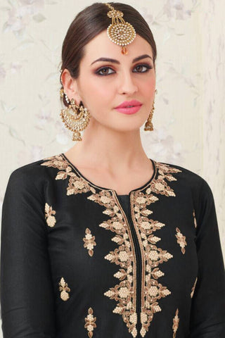 Designer Lehenga:atisundar cute Embroidered Glazed Cotton Designer Embroidered Party Wear Lehenga in Black - 12756