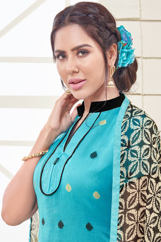 Designer Straight Cut:atisundar Attractive Sky Blue Designer Straight Cut  - 12550