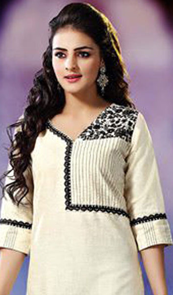 Designer Tops:atisundar Great Khadi Cotton Designer Tops in Off White - 8818 - click to zoom