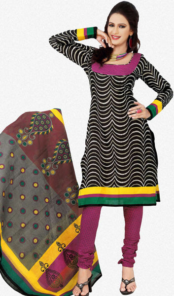 Designer Printed Cotton Unstitched Suit:atisundar graceful   in Black And Pink - 5516 - atisundar - 1 - click to zoom