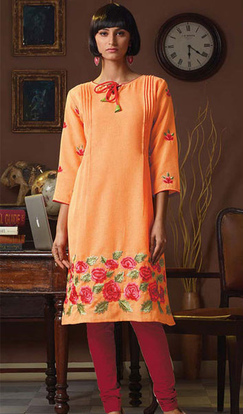 Designer Tops:atisundar Great Poly Linen Designer Tops in Orange - 9167 - atisundar - 1 - click to zoom
