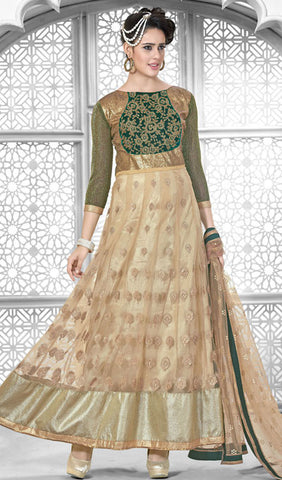 Designer Embroidered Suit:atisundar Superb Beige Designer Embroidered Suits - 8398 - atisundar - 1 - click to zoom