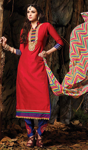 Embroidered Chanderi Cotton Suits:atisundar refined Red Embroidered Straight Cut in Chanderi - 6616 - atisundar - 1 - click to zoom