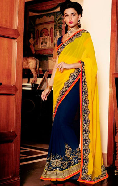 Designer Embroidered Saree:atisundar stunning Designer Embroidery Saree in Yellow  - 8594 - atisundar - 1 - click to zoom