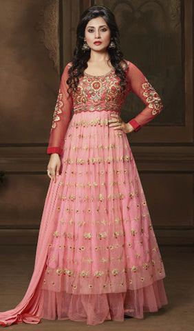 The Rimi Sen Collection:atisundar Attractive Red Designer Embroidered Anarkali - 8912 - atisundar - 1 - click to zoom