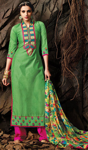 Embroidered Chanderi Cotton Suits:atisundar comely Green Embroidered Straight Cut in Chanderi - 6623 - atisundar - 1 - click to zoom