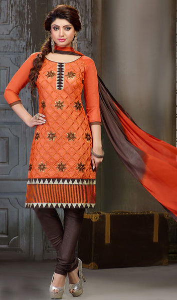 Embroidered Straight Cut Suit:atisundar delightful Orange Designer Straight Cut Embroidered Suits - 7803 - atisundar - 1 - click to zoom