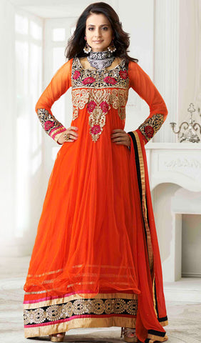 Designer Anarkali!:atisundar superb Orange Embroidered Anarkali - 8653 - atisundar - 1 - click to zoom