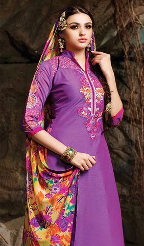 Embroidered Chanderi Cotton Suits:atisundar beauteous Purple Embroidered Straight Cut in Chanderi - 6621 - atisundar - 1 - click to zoom