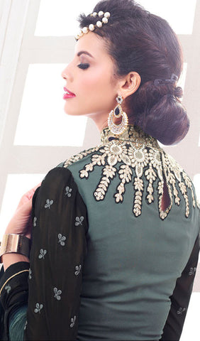 Designer Embroidered Suit:atisundar ravishing Grey And Black Designer Embroidered Suits - 8683 - atisundar - 3