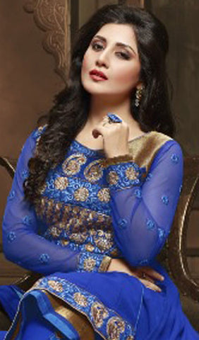 The Rimi Sen Collection:atisundar Awesome Blue Designer Embroidered Anarkali - 8913 - atisundar - 3