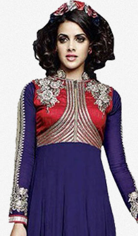 Designer Embroidered Lehenga :atisundar angelic Georgette Designer Embroidered Anarkali in Blue - 9003 - atisundar - 3
