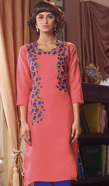 Designer Tops:atisundar graceful Poly Linen Designer Tops in Dusty Pink - 9170 - atisundar - 1 - click to zoom
