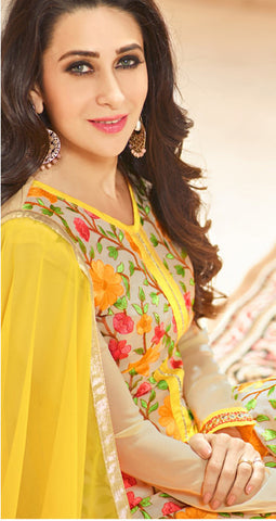 The karishma Kapoor Collection:atisundar angelic Yellow Designer Straight Cut  - 8456 - atisundar - 2