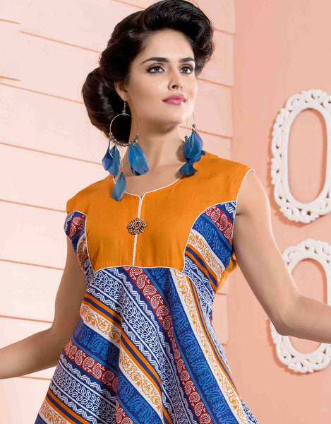 Designer tops:atisundar appealing Rayon Designer Printed Tops in Orange - 6905 - atisundar - 3 - click to zoom