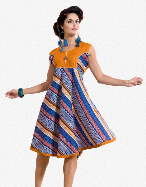 Designer tops:atisundar appealing Rayon Designer Printed Tops in Orange - 6905 - atisundar - 1 - click to zoom