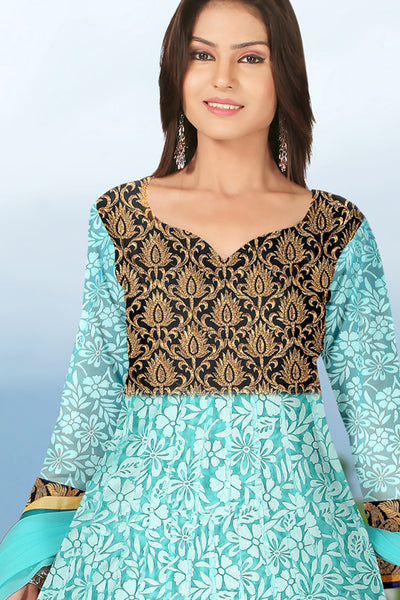 Designer Anarkali:atisundar Lovely Sea Green Designer Embroidered Anarkali - 10690 - atisundar - 2 - click to zoom