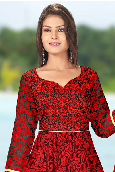 Designer Anarkali:atisundar radiant Red Designer Embroidered Anarkali - 10687 - click to zoom